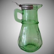 Vintage Green Depression Glass Syrup Pitcher with Hinged Metal Lid