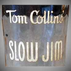 Vintage Sloe Gin Advertising Glass - Slow Jim Tom Collins
