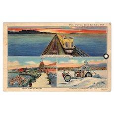 Vintage Souvenir Postcard - 3 Views of The Great Salt Lake