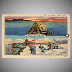 Vintage Souvenir Postcard - 3 Views of The Great Salt Lake