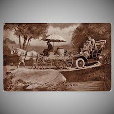 Humorous Vintage Postcard - 1909 Horse Cart and Old Automobile