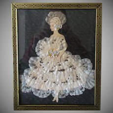 Vintage Wall Hanging – Paper Doll Lady in Silk Flower Dress – 1930's