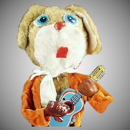 Vintage Wind-up Plush Dog and Musical Guitar Tin Toy - Watch on Facebook