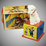 Vintage Tin Wind Up Toy - Rex the Counting Dog with Box on Facebook