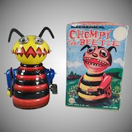 Vintage Marx Chompy the Beetle - Tin Wind Up Toy with Original Box - Watch on Facebook