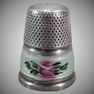 Vintage Thimble – Sterling Silver & Guilloche Enamel Flower - Germany