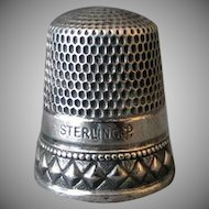Vintage Sterling Silver Thimble – Nice Diamond Design, Goldsmith Stern - Size 11