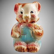 Vintage Cookie Jar - American Bisque Baby Bear in Rompers