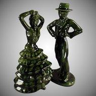 Ceramic Flamenco Dancers - Mid Century Decorator Accent Figurines