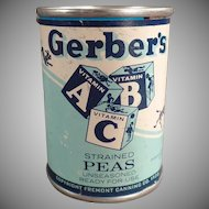 Vintage Advertising Tin Bank - Gerber Strained Peas ABC Baby Food Tin