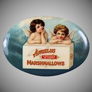 Vintage Celluloid Advertising Pocket Mirror - Angelus Marshmallows with Two Angels
