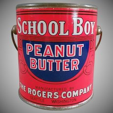 Vintage Peanut Butter Tin - 1# School Boy Peanut Butter Pail