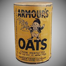 "Vintage Sample Oat Box - 4"" Tall Armour's Oat Cereal Box with Elf Graphics"