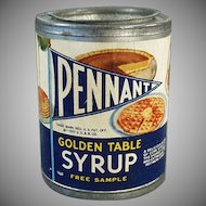 Vintage Sample Syrup Tin - Pennant Golden Table Syrup  - 1937