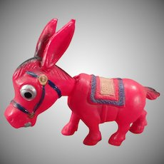 Vintage Celluloid Toy - Colorful Donkey Nodder with Bobbing Head
