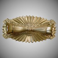 Vintage Deco Styled Brass Flush Mount 2 Bulb Light Fixture