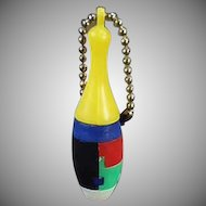 Vintage Dexterity Puzzle Key Chain - Skinny Bowling Pin