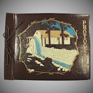 Vintage Scrap Book or Photograph Album with Decorative Waterwheel on Cover