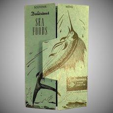 Vintage Anthony's Fish Grotto Souvenir Menu Postcard Mailer