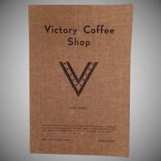 Vintage Victory Coffee Shop Menu - Reno Nevada - WWII War Time Memorabilia