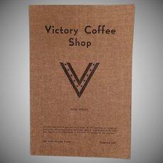 Vintage Victory Coffee Shop Menu - Reno Nevada - WWII War Time Memorabilia