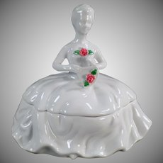 Vintage Dresser Jar - Kaldun & Bogle Lady with Rose White Porcelain