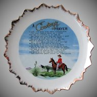 Vintage Hanging Plate with A Cowboy's Prayer
