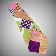 Men's Vintage Necktie - Hand Made - Wide & Wild & Vividly Colored
