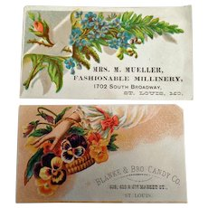 Two Vintage Advertising Trade Cards - St. Louis Businesses