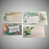Four Vintage Advertising Trade Cards - 4 Businesses in Newburgh, New York