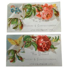 Two Vintage Advertising Trade Cards - Dehnert Bakery & Confectionery