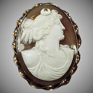 Vintage Cameo Brooch - Early 1900's Carved Shell Grecian Goddess