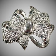 Vintage Bow Scarf Pin – Textured Silvertone with Marcasite Accents
