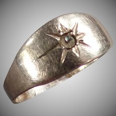 Baby's Vintage Ring - Silver Colored with Tiny Star Design