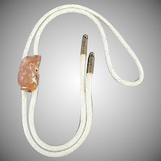 Vintage Polished Pink Rock Bolo Tie - 1950's - 1960's