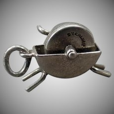 Vintage Sterling Silver Charm – Moveable Wet Stone Grinder - Knife Sharpener