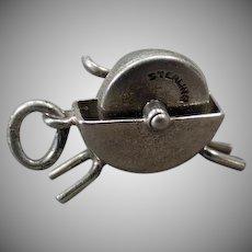 Vintage Sterling Silver Charm – Moveable Wet Stone Grinder - Knife Sharpener