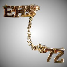 Class of 1972  High School Pin - EHS - Estate Jewelry