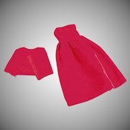 Vintage Dress for Tammy & Other Similar Dolls - 2 Piece Red Velveteen