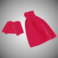 Vintage Dress for Tammy & Other Similar Dolls - 2 Piece Red Velveteen