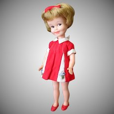Vintage Penny Brite Doll with Original Dress, Bow and Red Shoes