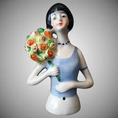 Vintage Porcelain Half Doll – Flapper with Flower Bouquet, Germany