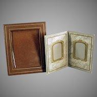 Two Vintage Photograph Frames - Paper Easel Frames for a Desk or Mantle