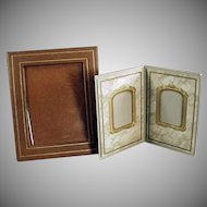 Two Vintage Photograph Frames - Paper Easel Frames for a Desk or Mantle