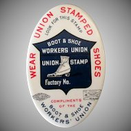Vintage Celluloid Advertising Mirror - Shoe Worker's Union