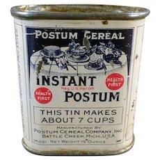 "Vintage Instant Postum Cereal Sample Tin – Just Over 2"" High"