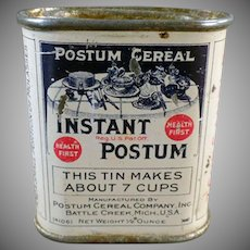 "Vintage Instant Postum Cereal Sample Tin – Just Over 2"" High"