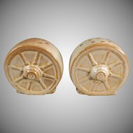 Vintage Frankoma Pottery - Desert Gold, Ada Clay Wagon Wheel Salt & Pepper Set