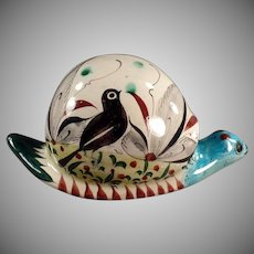 Old Mexican Pottery - Large Snail with Colorful Bird Design - Fun Yard Art