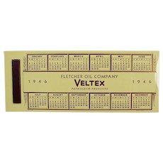 Vintage Celluloid Advertising Blotter - Veltex Fletcher Oil - 1946 Calendar